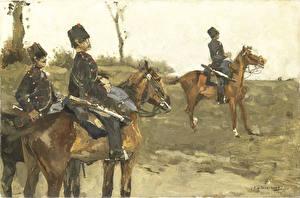 Фотографии Картина Лошади Солдаты George Hendrik Breitner, Hussars