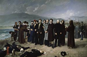 Обои Картина Мужчины Antonio Gisbert, The Execution of Torrijos and his Companions on the Beach at Málaga