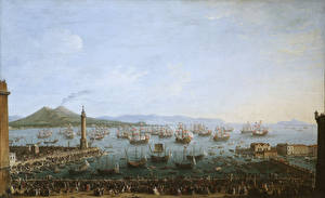 Обои Живопись Корабли Парусные Antonio Joli, Departure of Charles III of Spain from Naples