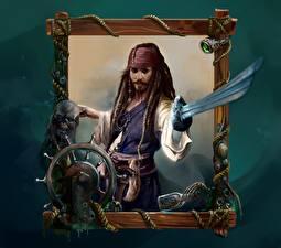 Обои Пираты Карибского моря Johnny Depp Пираты Сабли Jack Sparrow