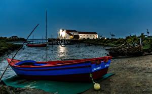 Картинка Португалия Вечер Пирсы Лодки Setubal Природа