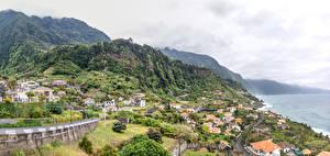 Фотографии Португалия Здания Горы Берег Madeira Ponta do Sol Города