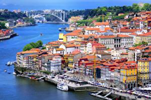 Обои Португалия Портус Кале Здания Речка Пирсы
