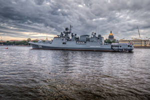 Фотография Россия Санкт-Петербург Речка Корабли Russian frigate Admiral Makarov