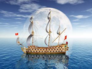 Фотография Море Корабли Парусные Луна 3D Графика