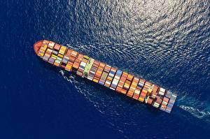 Картинка Корабли Контейнеровоз Сверху