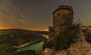 Обои Испания Реки Холмы Ночь La Pertusa Города