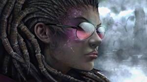 Фото StarCraft Дреды Сара Керриган Лицо Очки Игры