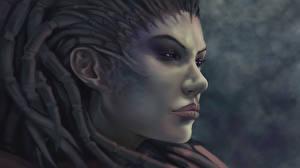 Фотографии StarCraft Сара Керриган Лицо queen of blades Фантастика Игры