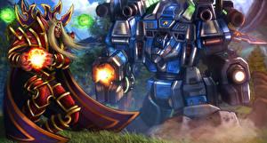 Обои StarCraft World of WarCraft Heroes of the Storm Воины Робот Tychus, Kael'thas Фэнтези