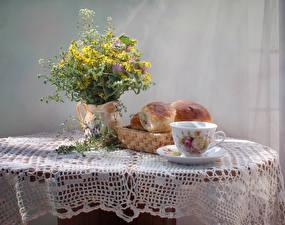 Обои Натюрморт Букеты Булочки Ваза Чашка Стол Продукты питания