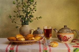 Фото Натюрморт Выпечка Чай Чайник Ваза Чашка