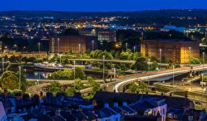Фото Швеция Стокгольм Здания Дороги Вечер Уличные фонари