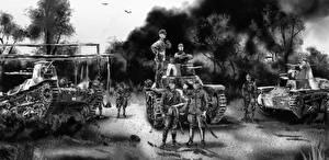 Фотографии Танки Солдаты Рисованные Черно белое Японские