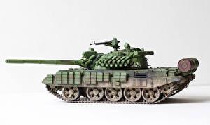 Фотографии Танки Игрушки Белый фон Российские T-55 AMV Армия