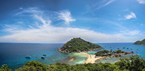 Фото Таиланд Остров Тропики Побережье Небо Koh Tao island Природа