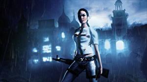 Фото Tomb Raider Дождь Автоматы Лара Крофт Ночь Игры Девушки