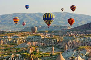 Фотографии Турция Холмы Воздушный шар Cappadocia Природа