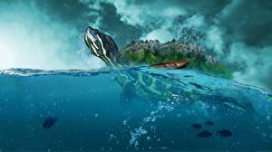 Фотография Черепахи Вода Животные Фэнтези