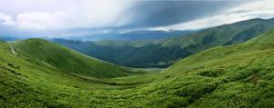 Картинка Украина Горы Карпаты Трава Природа