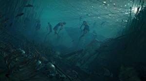 Картинка Подводный мир Assassin's Creed Origins Скелет Мертвый труп Игры