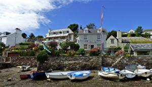 Фотография Великобритания Здания Берег Лодки Devon Города