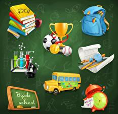 Фотография Векторная графика Сумка Часы Будильник Автобус Школа Цветной фон Книга Мяч Очки