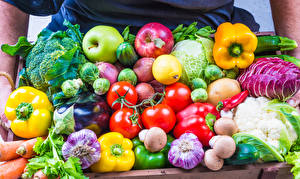 Картинка Овощи Фрукты Помидоры Перец Яблоки Чеснок Грибы Еда