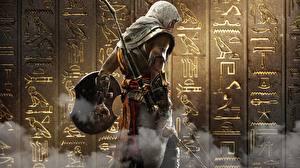 Картинки Воины Лучники Assassin's Creed Origins Капюшон Щит Лук оружие Игры