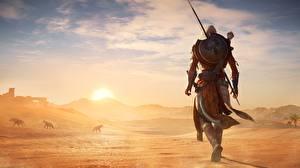 Фотографии Воители Пустыни Рассветы и закаты Assassin's Creed Origins Щит Игры 3D_Графика