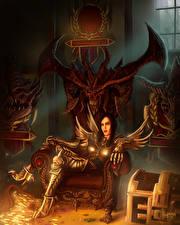 Обои Воины Diablo 3 Трон Доспехи Reaper of Souls Девушки Фэнтези