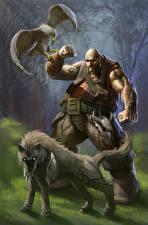 Картинка Воители Собаки Ястреб Мужчины Фэнтези