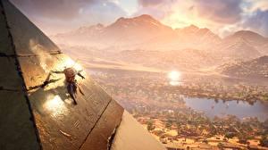 Фотографии Воин Египет Assassin's Creed Origins Пирамиды Игры