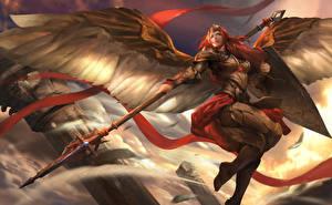 Картинки Воители Heroes of Newerth Копья Крылья Доспехи Рыжая Valkyrie, Adkarna Valkyrie Девушки