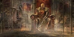 Обои Воители Трон Робот Implant Фантастика
