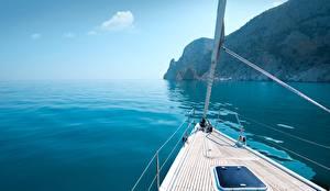Картинка Яхта Море Греция Природа