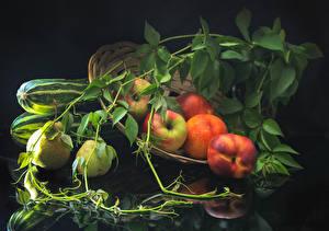 Картинка Яблоки Персики Груши Ветвь