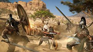 Фото Assassin's Creed Origins Сражения Воины Мечи Щит Игры 3D_Графика