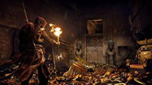 Картинка Assassin's Creed Origins Мужчины Золото Факел 3D_Графика
