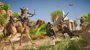 Фотография Assassin's Creed Origins Воины Верблюды Лучники Игры 3D_Графика