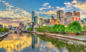 Фотографии Австралия Мельбурн Здания Речка Небо Улица