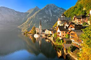 Фотография Австрия Здания Озеро Горы Халльштатт Альпы Города