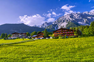 Фотографии Австрия Горы Городки Здания Трава village Ramsau am Dachstein