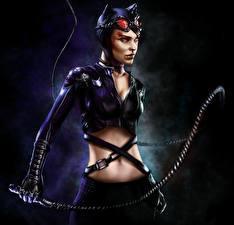 Фото Batman Женщина-кошка герой Супергерои Arkham Игры Девушки