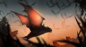 Фотографии Летучие мыши Воители Волшебные животные Крылья