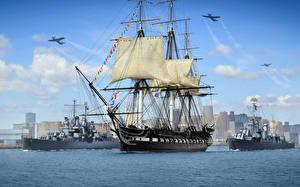 Картинка Бостон Штаты Корабли Парусные World Of Warship Американские US Navy Birthday Игры