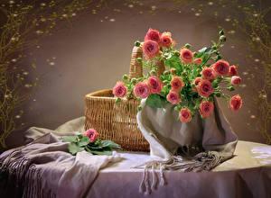 Обои Букеты Розы Корзина Розовый