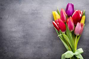 Картинка Букеты Тюльпаны Бантик