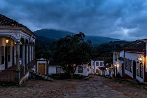 Фотографии Бразилия Здания Улица Ночные Tiradentes
