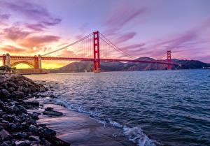 Фотография Мост Побережье Вечер Америка Сан-Франциско Golden Gate Bridge Природа